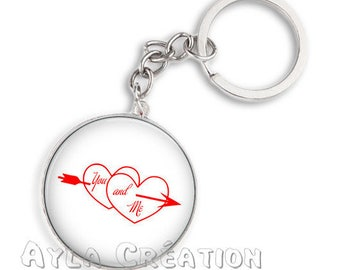 Keyring 25 love 14 mm glass cabochon