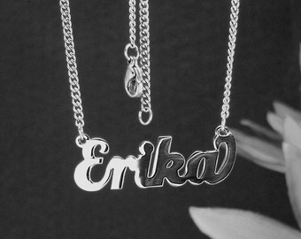 Erika  name necklaces. stainless steel. next day ship. never tarnishes. shiny silver color