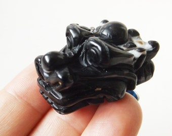 Dragon Bead - Jewelry Supply, Dragon Collector, Onyx, Crystal Bead, Black Onyx, Carved Bead, Statement Bead
