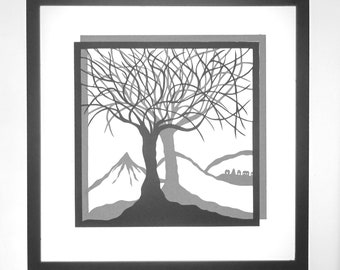 FATHER'S DAY Gift Trees Of Life Wall Art Home Décor Silhouette Paper Cut w/ 2 Layers of Black and Grey Original Handmade Design Framed OOAK