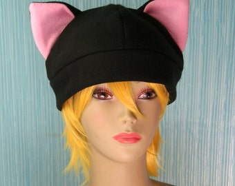 Fleece Cat Hat / BLACK + LIGHT PINK Inner Ears Beanie Style Cap Cute Anime Neko Cosplay Kitty Cat Ears Kawaii Fashion