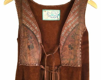 Vtg  60s 70s Char Brown Leather Suede Boho Hippie Vest Jacket Handpainted Flowers Whipstitched XS