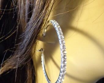 Silver tone Rhinestone Hoop Earrings 2 inch Hoops Crystal Hoop Earrings