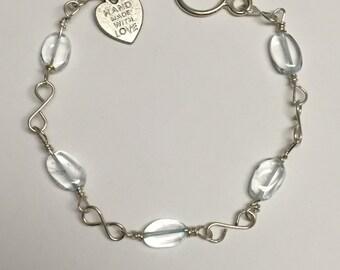 Blue Topaz Silver Link Bracelet