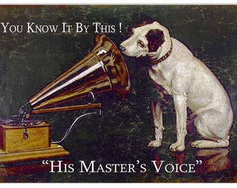 RG392 His Masters Voice Dog Reproduction Sign 12x18