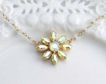 Flower Necklace. Yellow Daisy. Swarovski Flower Necklace. Light Yellow Flower Necklace. Moonstone Rosary Chain. Gift for Her.