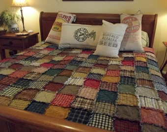 Handmade Patchwork Rag Quilt, Queen Size, Made to Order, Homemade, Great for Rustic, Farmhouse, or Primitive Decor