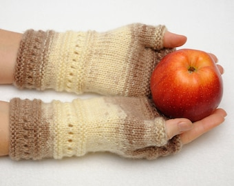 Fingerless gloves Wife gift ideas Beige fingerless mittens Winter gloves Arm Warmers Girlfriend Gift for sister Winter Fashion Gift for Her