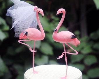 Pink Flamingo Wedding Cake Topper: Bride & Groom Cake Topper - Featured in Destination Wedding Magazine