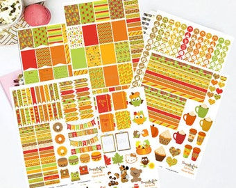 50% OFF Sale! DIY October Fall Harvest Printable Planner 450 Stickers pdf and 6 jpeg