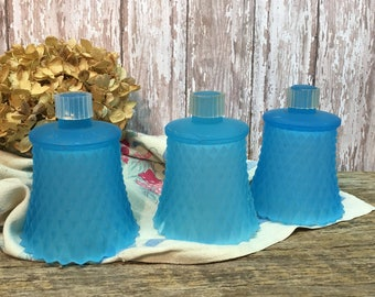 Vintage Glass Votive Cup Holders/Blue/Set of Three/Globes/Homco