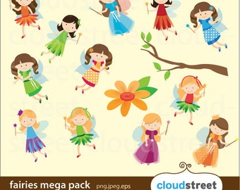 BUY 2 GET 1 FREE Fairies Clip Art Mega Pack for personal and commercial use (fairy clipart) vector graphics