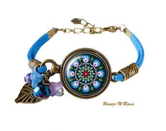 Bracelet embroidery folk pattern setting Slavic Russian Blue