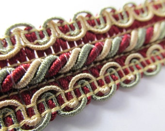 Marsala Dark Red, Light Sage Green, Light Gold 1 inch 25mm Home Decorator Fancy Braided Gimp Trim
