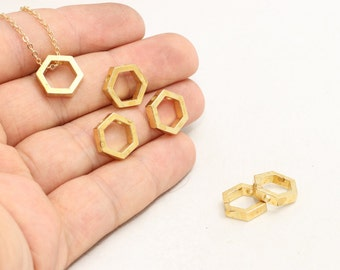 5 Pcs Raw Brass Hexagon Pendant , Hexagon Charms , 12,5mm , Raw Brass Hexagon, Geometric charms , SOM171