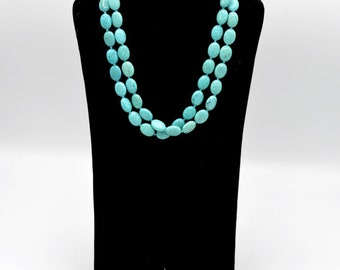 Beautiful Vintage Turquoise Stone With Sterling Silver Necklace