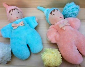 "3"" Waldorf doll, Waldorf baby doll, Waldorf first doll, Soft doll, Steiner doll, Waldorfpuppe, Pocket doll, Waldorf doll baby, Wool doll"
