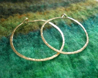 Gold Hoops Sleeper Hoops Small Classic Gold Hammered Hoops 14kt Gold Fill Hoop Earrings Wire Jewelry