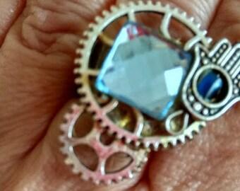 Boho Judaica Steam punk  ring adjustable silver color