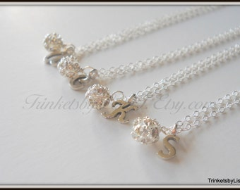 SET OF FOUR Fireball and Initial Sterling Silver Necklace Flower Girl Bridesmaid
