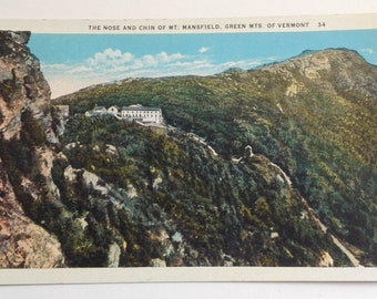 Mt Mansfield, Vermont, VT, Vintage Postcard, Green Mountains, Smugglers Notch, Chin, Nose, Stowe Vt