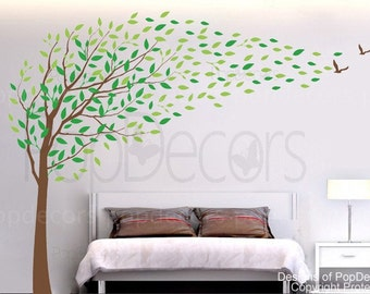 Nature Tree Wall Decal Bedroom Tree Decals Branch Stickers Office Decors- Flying in the wind(78inch H) -Designed by Pop Decors