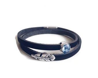 Simple black leather bracelet for women - leather bracelet with swarovski crystal bracelet handmade -minimalist friendship bracelet leather