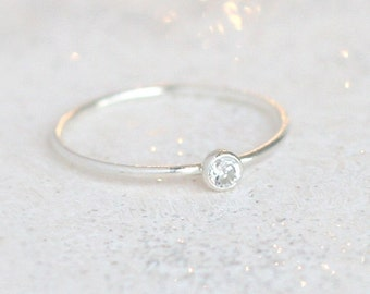diamond ring. silver stacking ring with April birthstone. ONE stackable gemstone ring. sterling silver. mothers ring. slim stacking ring.