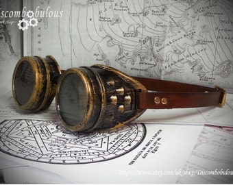 Steampunk goggles with leather strap, vintage goggles, aviator goggles, steampunk glasses, mad max goggles, cosplay goggles