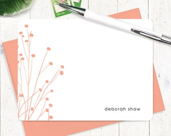 Personalized Note Card Set - personalized stationary - flower stationery - nature - floral - set of 12 flat note cards - DAINTY FLOWERS
