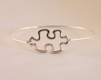 Sterling Silver or Gold Puzzle Autism Awareness Puzzle Bangle Bracelet, Autism Bangle Bracelet, Awareness bracelet, Autism Puzzle, Gift Idea