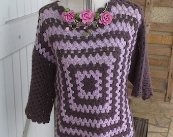 Brown and pink granny sweater