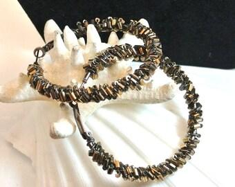 Brown and Gold Seed Bead Hoops Clip Back Pierced Bead Earrings 2 Inch Hoop Earrings Vintage Seed Bead Earrings Free Shipping in USA