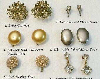 Estate Sale Fresh 6 Pair Vintage Screw On Earrings Various Styles Ready to Wear