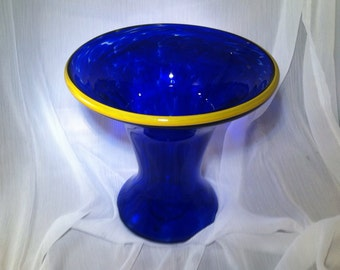Hand Blown Cobalt Glass Vase.  Blown Glass Trumpet Vase in Cobalt Blue with Yellow Rim