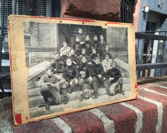 Vintage Football Photograph Team Champs Champions T Taunton High School 1905 1900's Hockomock League Massachusetts