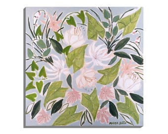 Flowers from Morella, Original Floral Art, Floral Painting, 20x20 in, Flower Power