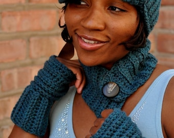 Hat and scarfette set - Teal