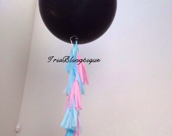 """Gender Reveal 36"""" Giant black balloon pink and blue tassels and confetti"""