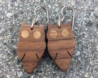 Owl Love, Wooden Earrings, Black Walnut Earrings