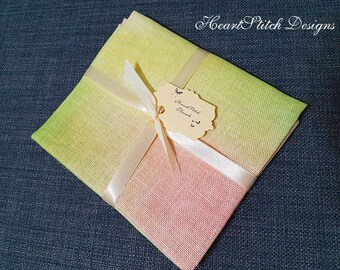 Sunset Dahlia - hand dyed linen/aida/evenweave