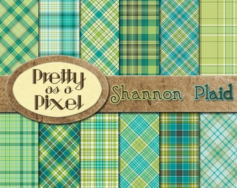 Digital Paper Pack - Shannon Plaid - Scrapbooking Backgrounds - Set of 12 - INSTANT DOWNLOAD