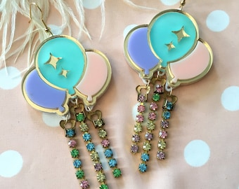 Pastel Balloon and Rhinestone Earrings, Laser Cut Acrylic, Plastic Jewelry