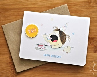 Illustrated Yay! Happy Birthday Card with Recycled Kraft Envelope - CurlieQ's Cake