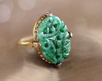 Vintage Jade Glass Ring, Art Deco Ring, Vintage Jewelry, Green Ring, 1920s Ring, 1920s Jewelry, Chinese Jade, Asian Jewelry, Ring R132