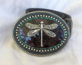 Dragonfly Accessories, Belts for Women, Handmade, Mosaic Belt Buckle, Leather Belt Strap, Camilla Klein, Grey and Purple, Insect, Bohemian