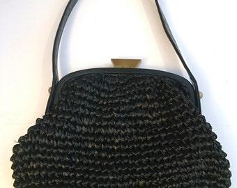 1960's  Morris Moskowitz Woven Crochet Ribbon Handbag Purse