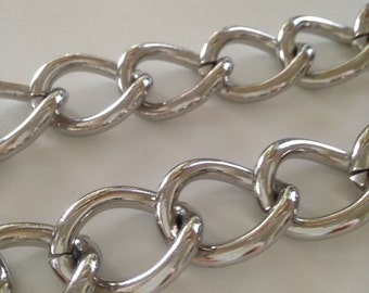 Silver Curb Chain Chunky Silver Curb Chain Chunky Silver Fashion Chain 1 Foot of Fashion Curb Chain 26mm by 20mm by 4mm by BySupply
