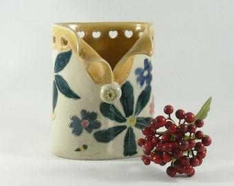 Oval Save the Bees Vase, Ceramic Toothbrush Holder, Soap Dispenser, Pencil Holder, Eyeglass Holder, Spoon Holder, Anniversary Gift 169
