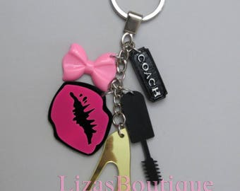 handmade keychain diva stylist pink lips makeup artist hot bow mascara resin gold stiletto heel